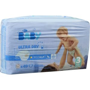 Couches Ultra Dry T3 : 4-9 kg CARREFOUR BABY